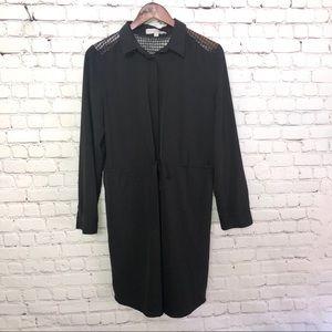 LOFT Dress w Mesh Shoulders & Front Tie Size Large